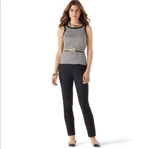 WHBM black slim ankle pants, stretchy waist, 10